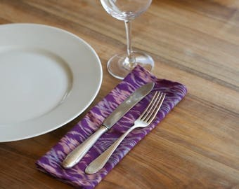 Set of 2 large GENUINE IKAT hand woven cloth dinner napkins -  Balinese Ikat with recycled jeans