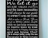 ON SALE Beautiful DISNEY We Do Disney famous movie quotes wooden subway art 8x12 sign -In this house we let it go because hakuna matata and