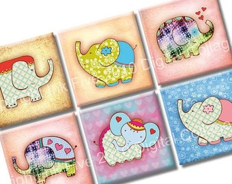 Lucky Elephants Digital Collage Sheet 1 inch squares for scrapbook, magnets, greeting cards, embellishments. Cute valentines love