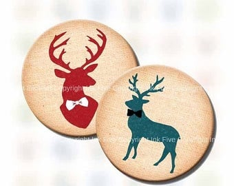 1 inch & 1.313 circles Oh Deer digital collage sheeet sepia blue bottle cap printable images. Reindeer for jewelry, pendants, bottlecaps