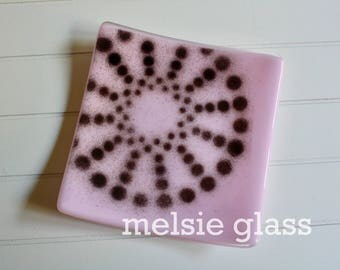 Pinwheel pink glass anything dish - pale pink glass with black spiral dot accent
