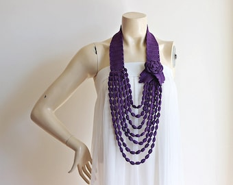 Purple Necklace- Rose Necklace- Jewelry Scarf-Handmade Loop Scarf -Cotton Summer Scarf