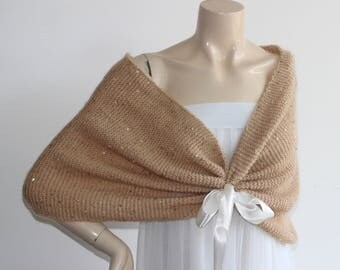 Champagne Bridal Capelet / Wedding Wrap Shrug Bolero/Hand Knit Wool Cape with Sequins-Ready to Ship