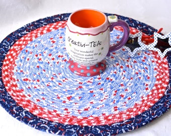 """Summer Place Mat, Handmade Blue Star Trivet, 16"""" Quilted Trivet, Blue and Red Hot pad, Patritotic Gift,  Coiled Potholder"""