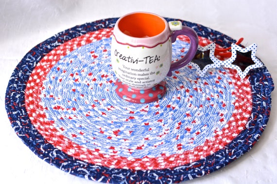 "Summer Place Mat, Handmade Blue Star Trivet, 16"" Quilted Trivet, Blue and Red Hot pad, Patritotic Gift,  Coiled Potholder"