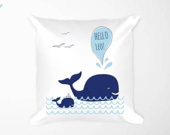 Whale Personalized Nautical Nursery Decor Pillow , Whale Baby Pillow Kid's Room Name, Navy Nursery Boy Sea Beach Decor, Family Nautical