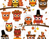 CIJ SALE Thanksgiving Owl Clipart Clip Art, Happy Thanksgiving Owl Party Decor Clipart Clip Art Vectors - Commercial and Personal