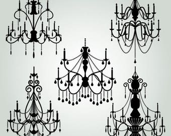 BACK TO SCHOOL Sale Chandelier Clipart Clip Art 2, Chandelier Silhouettes Clipart Clip Art - Commercial and Personal Use