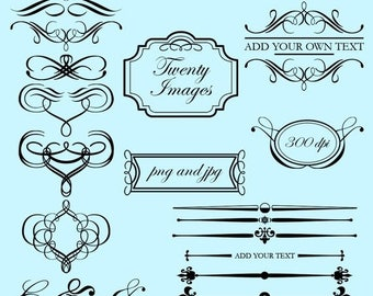 BACK TO SCHOOL Sale Flourishes and Frames Clip Art Clipart - Commercial Use