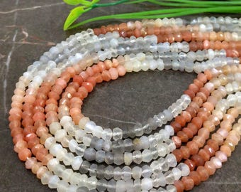 Natural Multi Moonstone 4-4.5mm Micro Faceted Rondelle Gemstone Beads / Approx 115 pieces on 14 Inch long strand / JBC-ET-147559
