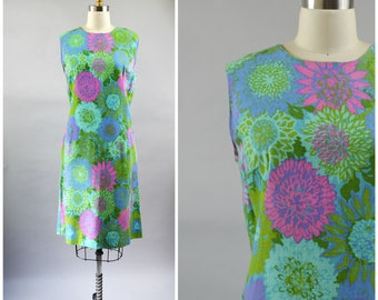Vintage Summer Shift Dress Size Medium Blue Green and Pink Floral Cotton Home Sewn Dress