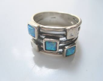 Vintage Sterling Silver Israeli Opal Ring with Wide Band