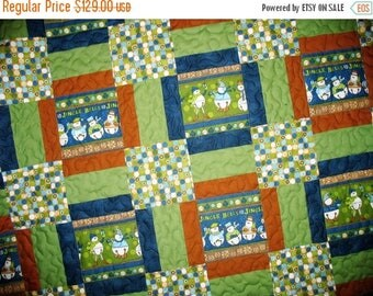 Sale Christmas in July Snowman, Lap Quilt, Jingle Bells, Large Afghan size, green, blue and brown
