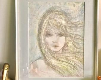 Mid Century Framed Art Woman at Cove Inn
