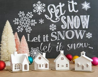 Putz House Christmas Ornament DIY Kit Putz Village Christmas Craft Kit Glitter House Christmas Decoration Christmas Village DIY Kit