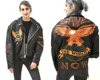 SALE Vintage Black Leather Motorcycle Jacket Eagle Bird Large XL// Vintage Black Leather Biker Jacket Jeff Hamilton Save The World Eagle