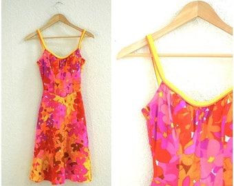 SALE 60s 70s Vintage  tiki dress Hawaiian Print Mini Dress Neon Pink Size XS Small// Vintage Sundress Dress Pink bombshell dress