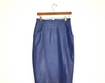 SALE 80s Vintage High Waisted Leather Skirt Size Medium Periwinkle Purple Blue// Vintage Purple Leather Skirt Pencil Skirt Highwaisted