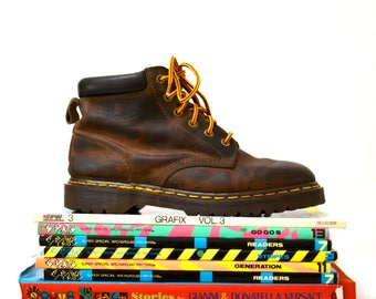 Amazing 90s Brown Dr. Martens Boots Size Women 9 9 1/2 Hiking Boot// Vintage Doc Marten Brown Boots Size 7 UK Made in England