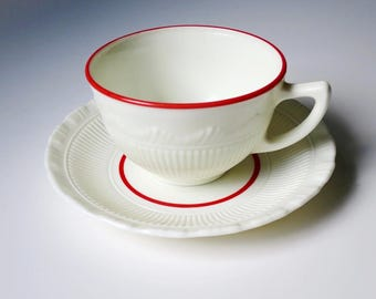 Vintage Pyrex Tea Cup and Saucer, Macbeth Evans by Corning Pyrex Tea Cup and Saucer w Red Trim, Milk Glass Teacup Set