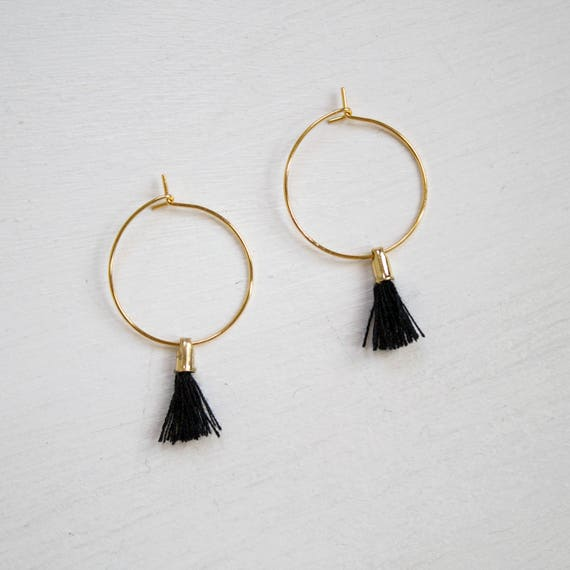 the Laurel in black -earrings (small halo hoop earrings with tassel minimal every day 16k gold plated)