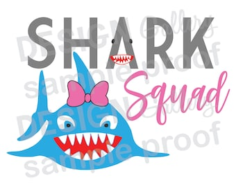 Shark Squad - JPG, png & SVG, DXF cut file, Printable Digital, bow pink fin tail girl teeth smile - Instant Download