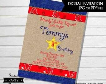 Cowboy Birthday Party PRINTABLE Invitation by Fara Party Design   Western Theme Birthday   Sheriff Birthday