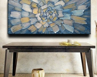 SALE 52 x 26 Custom Original Abstract Heavy Impasto Texture Silver Blue Gold Metallic Oil Painting by Je Hlobik