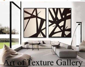 SALE Painting Pair Huge Black White Abstract Painting Custom Original Texture Impasto Minimalist Geometric by Je Hlobik