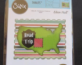 Sizzix Framelits Dies 4/Pkg - U.S. Map, Road Sign, Stamp & Postcard - 660328