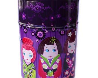 """Boite à thé ou café """"Poupées Japonaises"""" violet, cadeau fille, cadeau cuisine, rangement thé"""