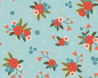 SALE 10% Off - Floral in Aqua  2240801-2  - HAPPY THOUGHTS  - by Alisse Courter for Camelot Cotton Fabrics