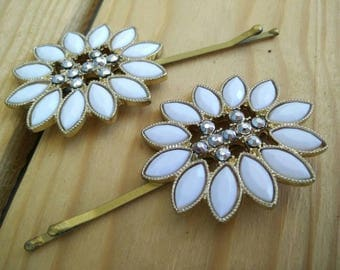 White Studded pin,  Bobby Pin,  tichel pin,  unique hair covering,  hair accessories, by oshratDesignz rhinestone