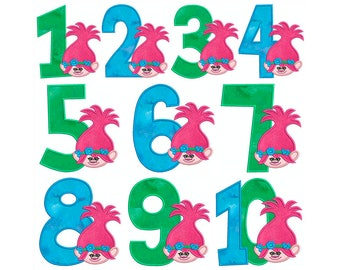 TROLLS Poppy Numbers Birthday Machine Applique Embroidery - Instant Digital Download