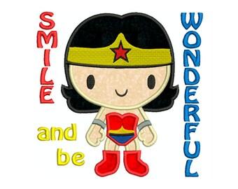 Wonder Woman Smile and be wonderful Superhero, wonderwoman - Machine Applique Embroidery - Instant Digital Download