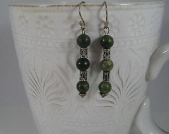 Serpentine Green and Silver Earrings