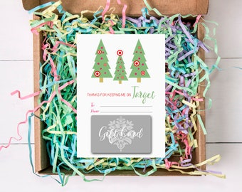 Christmas Tree Gift Card Holders, Target, 5x7, Teacher's Gifts, Green, Pink, Red, INSTANT DOWNLOAD