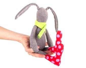 Cuddly plush , Stuffed SMALL Rabbit , brown rabbit , plushy toy , soft baby bunny doll , Crib Nursery Decor , eco easter bunny , green pink