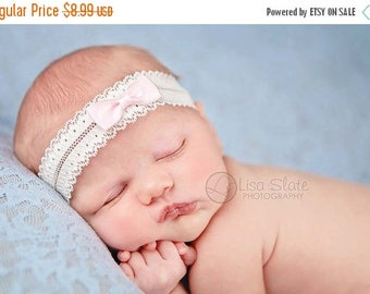 10% SALE Newborn Headbands  Baby Headband adult headband lace bow headband christening headband photo prop teen headband headband baby Baby