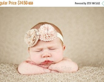 10% SALE Baby headband, newborn headband, adult headband, child headband and photography prop The double sprinkled- MINI Chiffon puffer fall