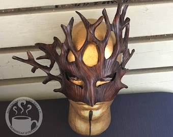 Earthy brown Dryad Mask - Handmade Leather Tree Spirit Druid Warrior Fantasy Mask