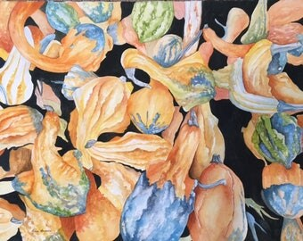 Colorful Gourds  Original Watercolor Art Painting 26 X 18 Fall Autumn Fruits