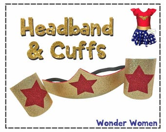 Wonder Women Headband & Cuffs (Costume Accessories) Super Heros...