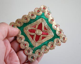 Red and Green Square - Indian fabric and sequin Appliqué  (1)