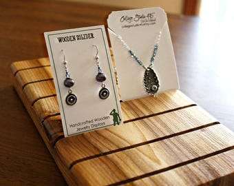 10 Inch Wooden Earring Card Display, Necklace Card, Bracelet Card Displays, Customized with 50 FREE Earring Cards 2x3.5 inches
