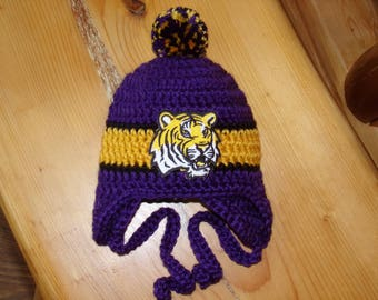 Louisiana Baby hat for Newborn to 18 months - LSU Tigers Geaux team colors
