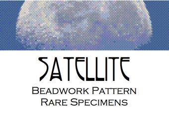 Satellite Moon Peyote Stitch Beadwork Pattern - Cuff Bracelet - Bookmark - Beaded Tapestry - PDF instant download