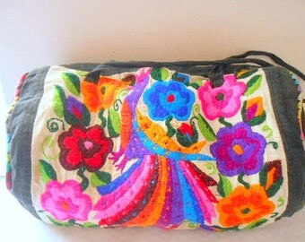 Vintage cotton bright colored Embroidered over night Bag