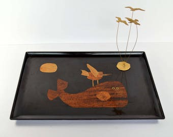 Vintage Couroc of Monterey Whale and Bird Tray