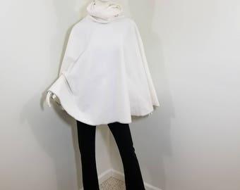 fleece white poncho